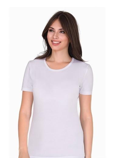 Sensu Kadın Bisiklet Yaka Basic T-Shirt Beyaz Renk Tsr1006 Renkli